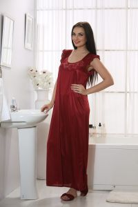 Night Suits - Mia Satin 4 Pcs Nightwear In Baby Pink   Polo club free watch worth Rs 2499