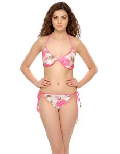 Clovia Satin Rich Printed Bra-brief Set In Pink (product Code - Bp0231p62 )