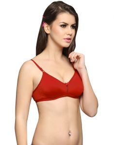 Clovia Everyday Cotton Wirefree Nonpadded T Shirt Bra In Red Br0241p04