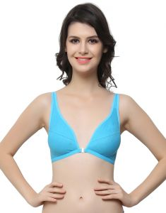 Clovia Cotton Blended Plunge Neck Front Open Bra In Cotton Blend (product Code - Br0348p03 )