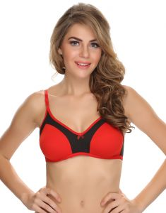 Clovia Cotton Blended Double Layered Comfy T-shirt Bra In Red (product Code - Br0349p04 )