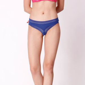 Cloe Cotton Comfy Lace Trim Panty In Blue Pn0163r21