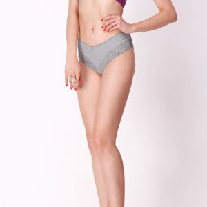 Cloe Classic Cotton And Lace Panty In Grey Pn0168r01