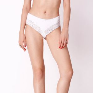 Cloe,Oviya,Hoop,Diya Women's Clothing - Cloe Classic Cotton and Lace Panty In White PN0168R25