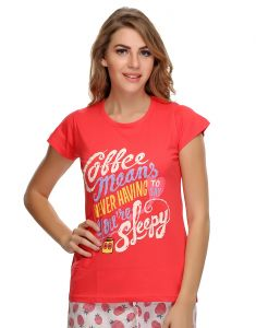 Triveni,My Pac,Clovia,Sleeping Story,Avsar,Arpera Women's Clothing - Clovia Cotton Lycra Trendy Graphic T-Shirt In Cotton (Product Code - Lt0010P14 )