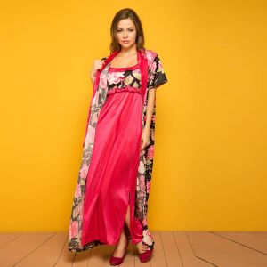 Clovia Black Printed Robe & Pink Nighty Set Nsm287p13