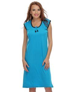 Embroidered Nightgowns - Clovia Dark Blue Cute Short Nighty  NS0394P08_Free Size