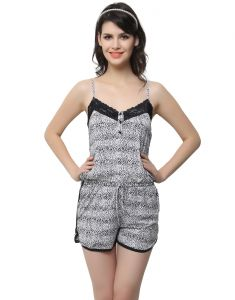 Clovia Women's Clothing - Clovia Polyamide, Lace Lacy Jumpsuit In Wild Prints (Product Code - Ns0521P13 )