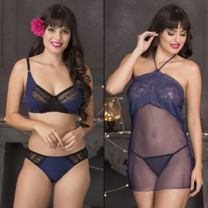 Set Of Bra-bikini & Babydoll-thong By Clovia (code - Nsc613c08)