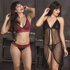 Baby Doll Sleep Wear - Set of Bralette-Bikini & Babydoll-Thong by Clovia (Code - NSC680C13)
