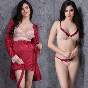 CLOVIA SET OF SATIN NIGHTIE WITH ROBE & LACE BRA-BRIEF