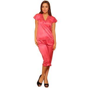 Night Suit In Reddish Pink