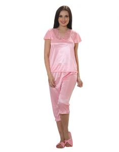 Night Suits - Clovia Nightsuit In Baby Pink  NSM281P62_Free Size