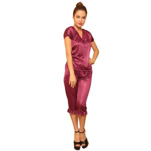 Satin Wine Night Suit For Women