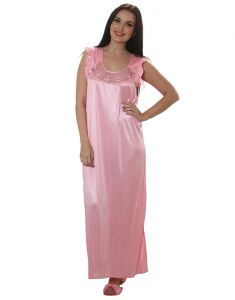 Clovia Long Satin Nighty In Baby Pink - (product Code - Nsm282p62)