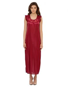 Clovia Satin Nighty In Wine - (product Code - Nsm282p97)