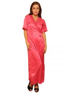 Satin Long Robe In Reddish Pink