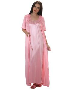 Clovia Long Robe In Baby Pink - (product Code - Nsm283p62)