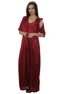 Satin Long Robe In Maroon By Cloe