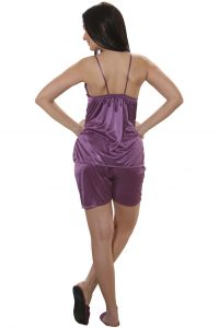 Clovia Satin Camisole And Shorts In Purple Code - (nsm284p12)