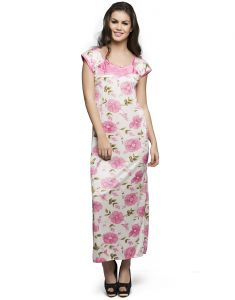 Clovia Satin Printed Long Nighty (code- Nsm286a22o)