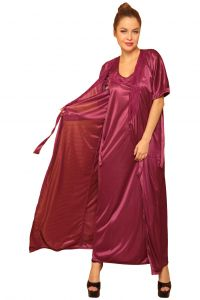 Slips - Clovia Set of 2- Wine Night slip with Robe NSM289P97