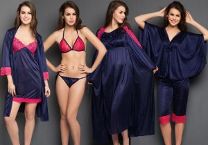 Clovia Women's Clothing - Clovia 8 PCs Navy Color Nighty Set for Valentine Gift