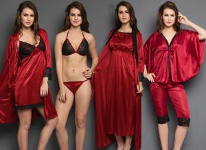 Clovia Women's Clothing - Clovia 8 PCs Maroon Color Nighty Set for Valentine Gift