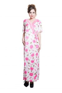 Clovia 2 PCs Printed Satin Nightwear In White And Pink - Robe And Nightie Code - (nsm293p22)