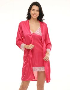 2 PCs Pink Short Robe & Nighty Set