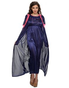 Clovia 2 PCs Satin Nightwear Set In Blue - Long Robe & Nighty Nsm295g08- Free Size