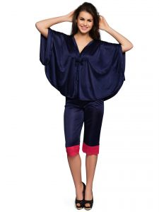 Clovia Set Of Top And Pyjama In Navy Nsm296p08