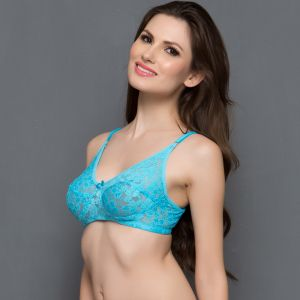 Clovia Chic Non-padded Wirefree Bra In Blue Br0181q21