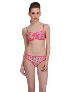 Clovia Swim Wear (Women's) - Clovia 2 Piece Polyamide Swimsuit Of Balconette Bra & V-Shaped Bikini In Red  -(Product Code- SM0013P04)