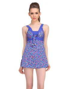 Clovia Swim Wear (Women's) - Clovia Polyamide Padded Floral Print Monokini Swim Suit In Blue  -(Product Code- SM0030P08)