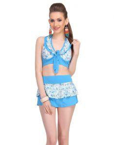 Clovia Swim Wear (Women's) - Clovia Two Piece Polyamide Padded Floral Print Swim Suit In Aqua  -(Product Code- SM0045P03)
