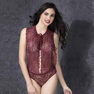 Baby Doll Sleep Wear - LACE TEDDY WITH TIE-UP NECK (TD0004P09)