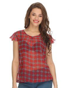 Clovia Tops & Tunics - Clovia Gorgette Georgette Checkered Top (Product Code - Ww0002P04 )