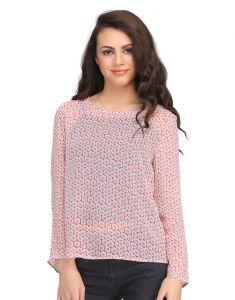 Clovia Tops & Tunics - Clovia Full Sleeve Georgette Western Wear In Pink  -(Product Code- WW0007P22)