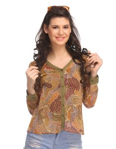 Tops & Tunics - Clovia Georgette Top In Green  -(Product Code- WW0008P11)