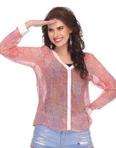 Clovia Tops & Tunics - Clovia Chiffon Top In Light Pink  -(Product Code- WW0008P22)