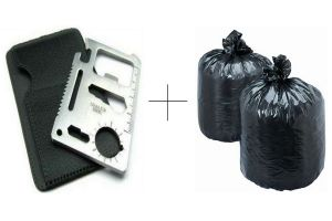 Buy Disposables Garbage Bag 60 PCs With Free 11 In 1 Stainless Steel Survival Toolkit - 11ingrb60
