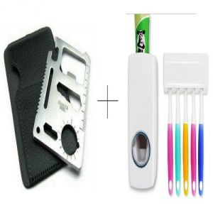 Buy Automatic Toothpaste Dispenser With Free 11 In 1 Stainless Steel Survival Toolkit - 11inttdis