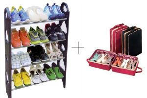 12 Pair Stackable Shoe Rack With With Shoe Tote - 12shwstsr
