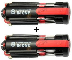 Buy 1 Get 1 Free 8 In 1 Toolkit Screwdriver LED Torch Portable Toolkit