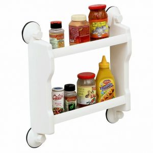 Two Layer Home Kitchen Rack Shelf With Suction Tiles Bathroom