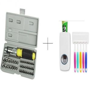 Buy Automatic Toothpaste Dispenser With Free 41 PCs Toolkit Screwdriver Set - 41ttdis
