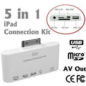 5 In 1 AV Camera Connection Kit , Apple Ipad Ipad2 2 SD Micro Mini Card Reader