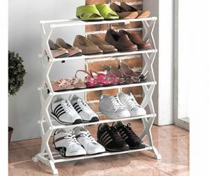 Home Decor & Furnishing - 5 tier Foldable Stainless Steel Shoe Rack 16 Pair