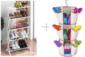 Buy 5 Tier Foldable Stainless Steel Shoe Rack With Smart Carousel Organiser
